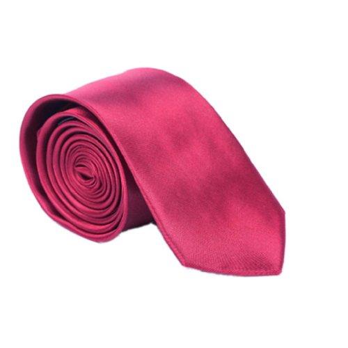 """Y-BOA - Cravate Unie – Homme Modern– Polyester –Slim/Fine- Solide - 2""""*56""""- Réglable- Costume Mariage Affaires (#13 Rouge foncé)"""