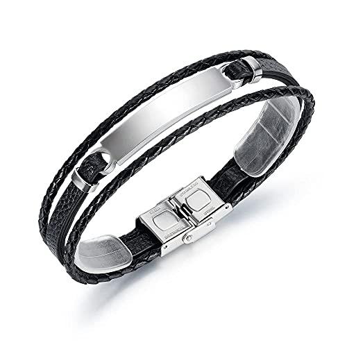 Pulsera trenzada de cuero para hombre Pulsera trenzada para hombres Pulsera de cuero negro multicapa personalidad plata moda hombre pulsera cuerda accesorios joyería pulsera cuero regalo