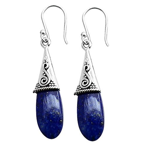 Silver Palace Pendientes colgantes de plata de ley 925 con piedras preciosas de lapislázuli naturales para mujeres y niñas