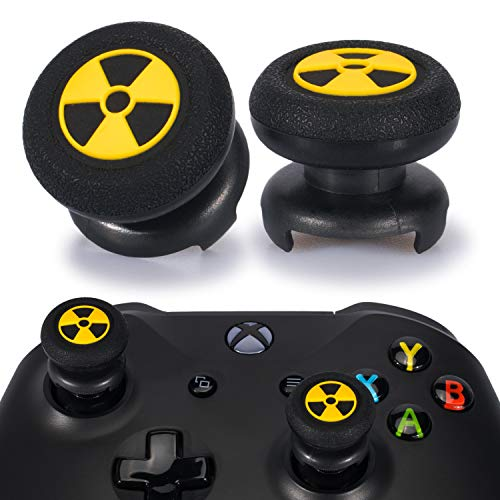Playrealm FPS Thumbstick Extender & 3D Texture Rubber Silicone Grip Cover 2 Sets for Xbox Series X/S & Xbox One Controller(Radiation Black)