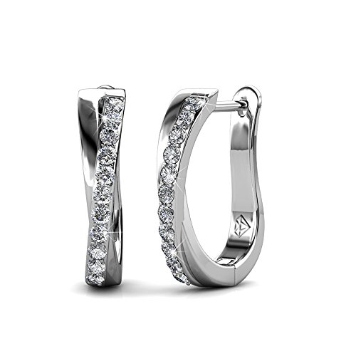 Cate & Chloe Amaya Adventurous 18k White Gold Plated Hoop Earrings with Swarovski Crystals, Sparkling Silver Twisted Hoops Earring Set w/Solitaire Round Cut Diamond Crystals (White Gold)