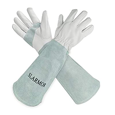 Long-Gardening-Gloves for Women/Men - Thorn Proof Cowhide Leather Rose/Blackberry Pruning Heavy Duty Garden Gloves Thick Palm Gauntlet Garden Work Gloves with Forearm Protection (White-Extra Small)