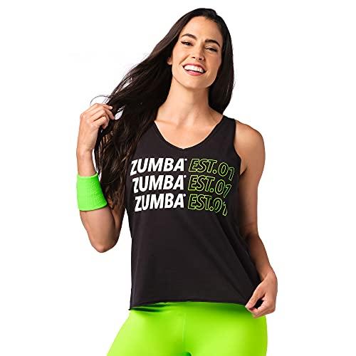 Zumba Fitness Zumba Loses Schwarzes Sportbekleidung Damen mit Grafikdruck Trainingsoberteile Camiseta, Blackout EST, Medium para Mujer