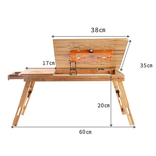 LSSZJHL Portable Folding Bamboo Laptop Table Sofa Bed Office Laptop Stand Desk With Cooling Fan Bed Table For Computer Notebook Books,large,