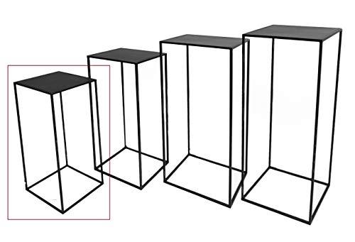 Hoher Beistelltisch schwarz Metall Telefontisch Pflanzentisch Blumentisch Tisch (22 x 22 x 50 cm)