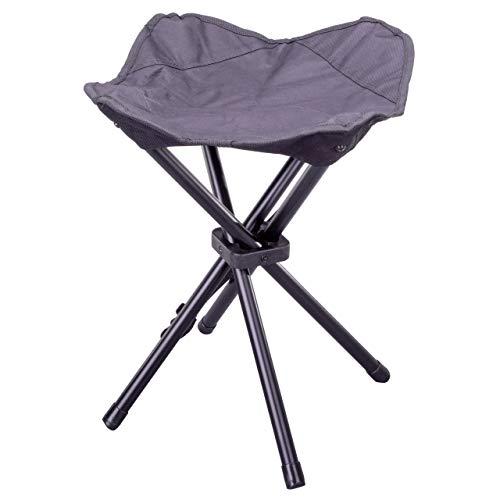 Nexos Camping-Hocker schwarz 4-beinig Mini Campingstuhl für Angeln Reise Wandern Garten – Outdoor faltbar – Bespannung schwarz – Gestell grau