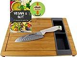 Five Juego de tablas de cortar de bambú, con 2 recipientes extraíbles y cuchillo de cocina universal Quttin Santoku – libro electrónico 'Vegan & Gut' con 275 recetas listo para descargar