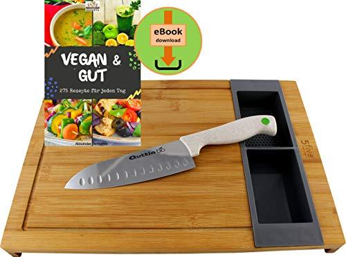 """Five Bambus Schneidebrett Set, mit 2 herausnehmbaren Behältern und Quttin Santoku Universal-Küchenmesser - eBook Kochbuch """"Vegan & Gut"""" mit 275 Rezepten ist zum Download bereit"""
