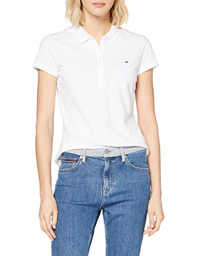 Tommy Hilfiger - New Chiara Str Pq Polo SSPolo - Femme - Blanc (100 Classic White) - FR : 40 (Taille fabricant : L)