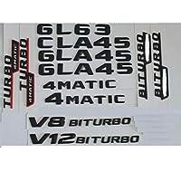 JIERS メルセデスベンツGL63GLA45 CLA45 V8 V12 BITURBO AMG 4MATIC、マットブラックトランクレターバッジエンブレムエンブレムバッジステッカー用