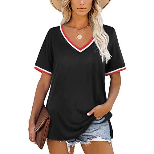 LYAZFC Camiseta de Manga Corta con Cuello en V y Costuras a Rayas de Verano para Mujer