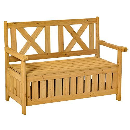 Outsunny 2-Sitzer Sitzbank mit Stauraum Gartenbank Holzbank Bank mit Armlehnen Massivholz Gelb 115 x 61 x 85 cm
