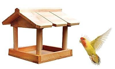 New Hanging Wooden Bird Table Garden Birds Pet Tree Bracket Hang Feeding Station by discountin ltd