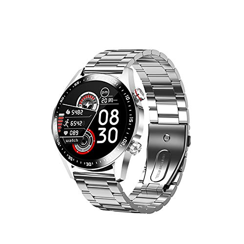 ZGZYL E1-2 Smart Watch Men's Bluetooth Call Custom Dial Sleep Heart Rate Monitor Pantalla Táctil Completa Impermeable Smartwatch Android iOS Sports Fitness Tracker,F