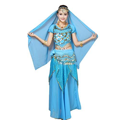 IOSHAPO Dames Dansen Outfit Kort Mouw Pailletten Buik Dans Indisch Dans Top + Rok + Andere Accessoires