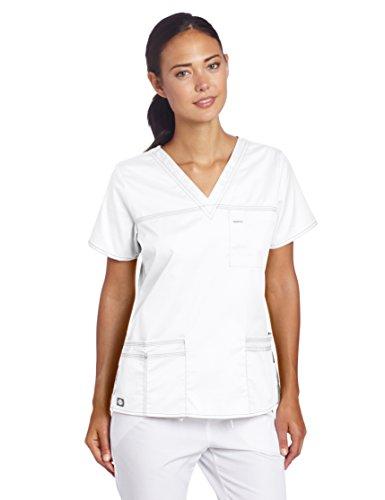 Dickies Damen GenFlex Junior-fit V-Neck Scrub Shirt - Wei - 4X-Groß
