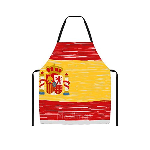 Mesllings - Delantal, diseño de bandera de España, color negro