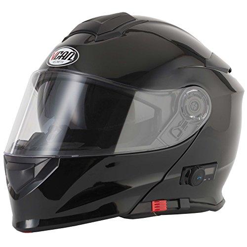 Casco para motocicleta V271 Blinc con Bluetooth VCAN modular, con visor, en varios colores, negro, Medium