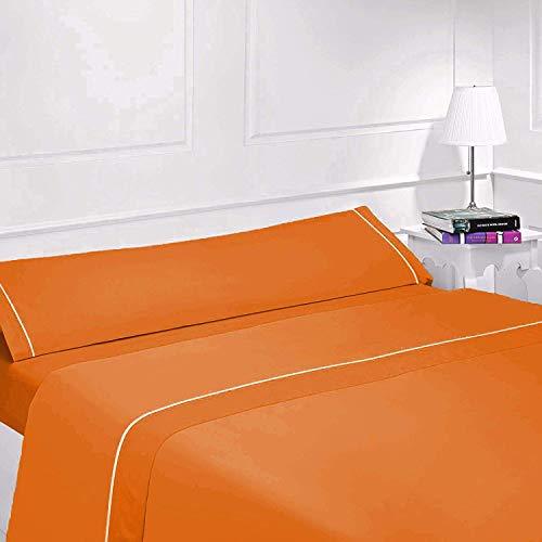 Confort Home Juego Sábanas Lisas - Bicolor - Verano (90_x_200_cm, Super Naranja)