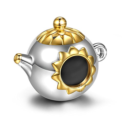 NINAQUEEN Charm fit Pandora Charms Teapot Women's Jewellery Best Gifts with Jewellery Box 925 Sterling Silver Antibacterial Properties