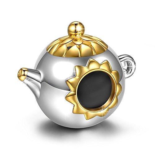 NINAQUEEN Charm für Pandora Charms Armband Teekanne Geschenk für Frauen Silber 925 Zirkonia Antibakterielle Eigenschaften Schmuck Damen mit Schmuckkasten