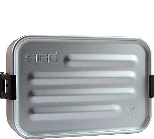 SIGG Metal Box Plus S Alu Lunchbox 0.8 L, moderne Brotdose mit praktischem Einsatz, federleichte Brotbox aus Aluminium mit Trennwand