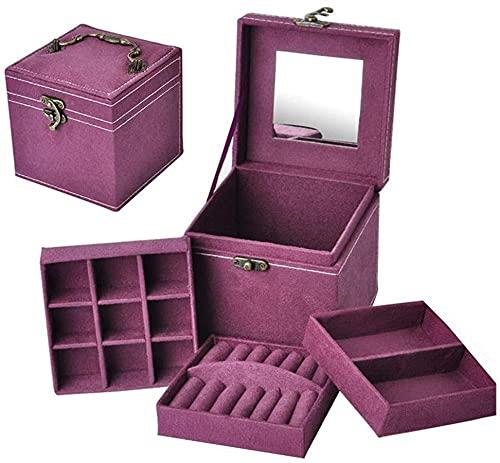 Joyero de viaje para joyas de viaje, cajas de joyería personalizadas, color rosa, caja de almacenamiento para niñas, cajas de joyería con espejo, azul marino, talla única, color morado