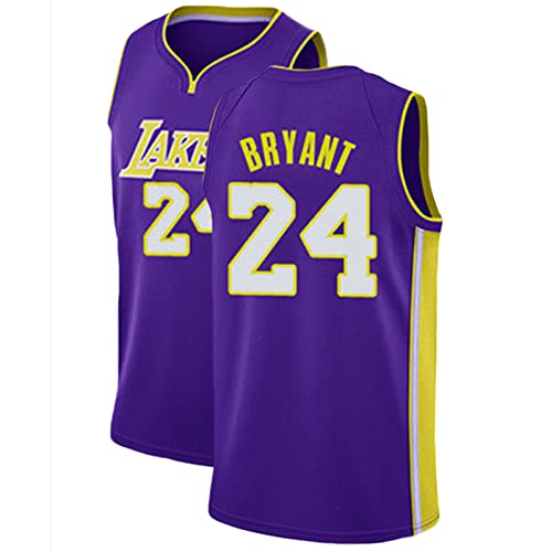 Kobe # 24 ärmellose Ruhestriche, Retro Stickerei-Fan Basketball-Uniform, Komfortables und atmungsaktives Herrensport-T-Shirt (S-XXL) Purple-L