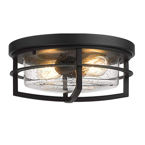 Zeyu Black Ceiling Light Fixtures, 13 Inch Kitchen Flush Mount Light Fixture with Seeded Glass Cover, ZW17-F BK-R