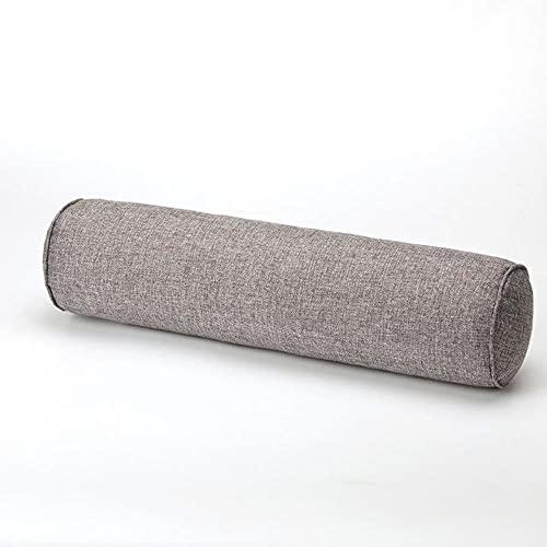 1CPS Almohada de Soporte para la Cabeza de Lino de algodón Cama de Varios tamaños Almohadilla de Cintura extraíble, Gris, 20x120cm