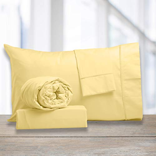 Ultimate Percale 400 Thread Count-100% Cotton 4 Piece Sheet Set-Bestselling Queen Size Sheets- Percale Weave-Super Soft Finish-Fitted Sheet Fits Upto 17' Deep Pocket- Yellow Color-Classic Z Hem.