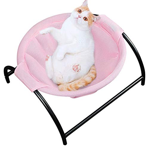 Naivedream Summer Mesh Cat Hammock Bed Breathable for Kittens Kitties Pups Small Pets,Detachable Cover,Stable Iron Frames, Easy to Clean Machine Washable, Keep Pets Away from Moisture & Skin Diseases