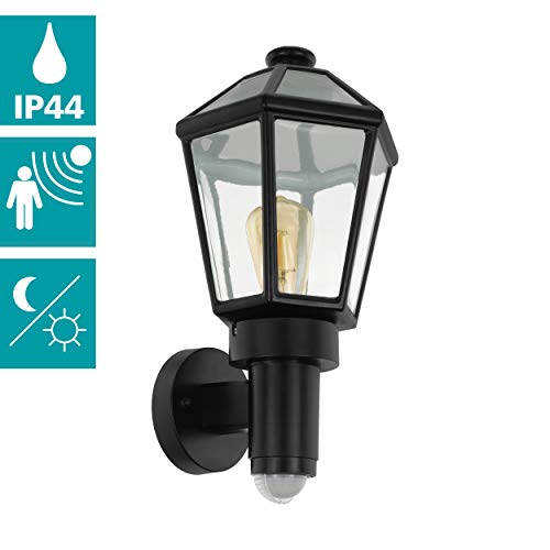 EGLO buiten-wandlamp Manerbio, 1 vlammige buitenlamp incl. bewegingsmelder, sensor-wandlamp gemaakt van gegoten aluminium en glas, kleur: zwart, fitting: E27, IP44