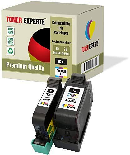 2 XL TONER EXPERTE® Druckerpatronen kompatibel für HP 15 HP 78 Deskjet 3810 3820 815c 916c 920c 940c 948c Copier 310 Officejet 5110 V30 V40 V45 PSC 2120 700 720 750 760 900 950 (Schwarz, Farbe)