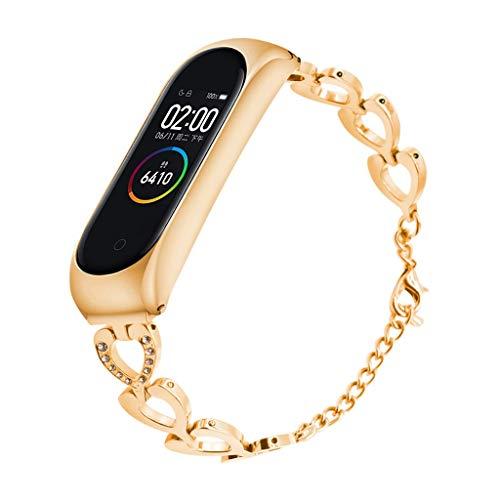 SHSH Correa de repuesto de cuero para Xiaomi Mi Band 3 Pulsera Metal Case Wristband para Xiaomi Mi Band 3 Band color negro tama/ño Xiaomi Mi Band 3
