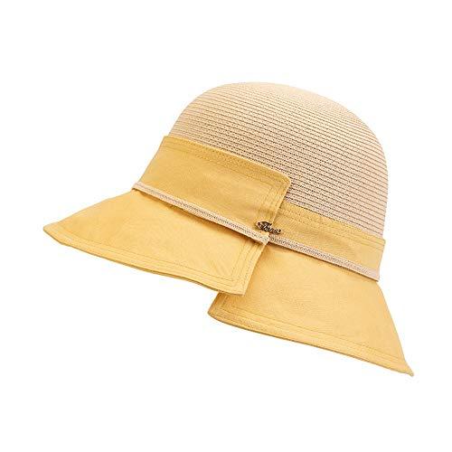 FUFU Gorros de Aviador Sombrero UV Viaje for Mujer de Sun de la Playa del Sombrero de Paja UPF50 UV Plegable del Verano del Borde en 4 Colores Trapper (Color : Yellow)