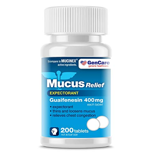 GenCare - Mucus Relief Expectorant (Guaifenesin) 400 mg (200 Tablets) Value Pack   Fast Acting Thinning of Mucus for Colds, Chest Congestion, Flu, Coughing and Allergies   Generic Mucinex Medicine