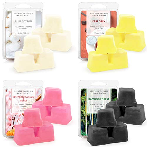 STRN Scented Wax Melts Natural Soy Wax Cube for Warmer Cubes/Tarts Pure Cotton, Earl Grey ,Bamboo Forest, Nectarine Blossom & Honey