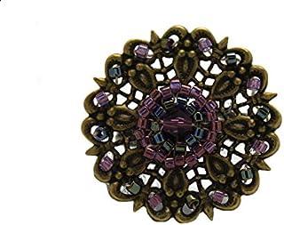 Anello di tessitura perline di vetro giapponesi retrò grigio ottone viola incisione regolabile bronzo natale meri Natale n...
