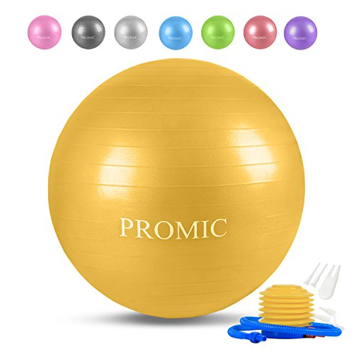 PROMIC バランスボール 45/55/65/75/85cm 8色 プロフェッショナルグレード フットポンプ付き アンチバース...