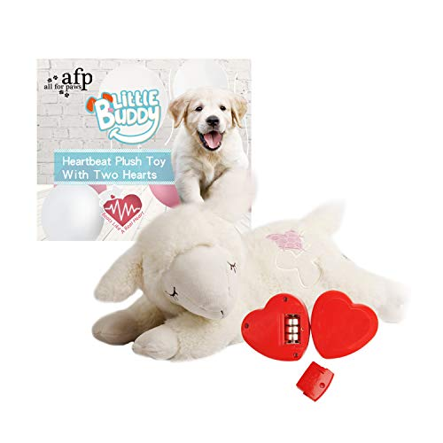 ALL FOR PAWS Snuggle Sheep Pet Behavioral Aid Toy Dog Puppy Heart Beat Warm Plush Toy (Double Heartbeat)