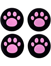 Siliconen Duim Stick Grip Cap Joystick Thumbsticks Caps Cover voor PS4 PS3 Xbox One PS2 Xbox 360 Game Controllers (Roze Kat Hond Poot 4 ST)