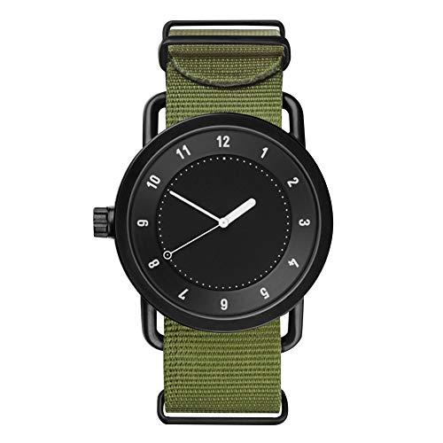 achidistviq-leisure nylon quadrante rotondo quarzo Numerale orologio analogico unisex coppia regalo–verde + nero