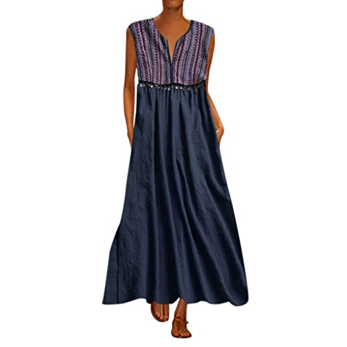 Kingko ® Damen Kleider Maxikleid Lose Kleid Langarm Retro Leinen Baumwolle Lange Kleider Elegante Bluse Breite Beiläufige Sommerkleider Tunika Strandkleider (XL, Marine)