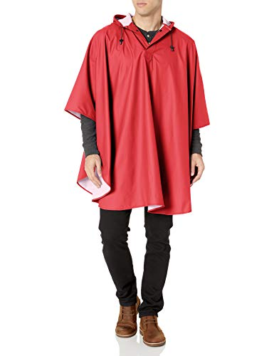 Charles River Apparel mens Pacific Rain Poncho, Red, One Size US