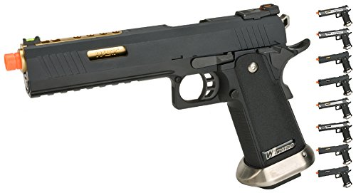 Evike - WE-Tech Hi-Capa 6' IREX Competition Airsoft Pistol - Etched/Two-Tone/Gold Barrel - (56826)