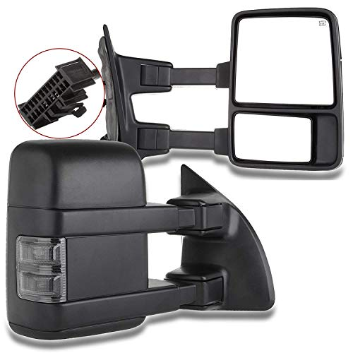 SCITOO Tow Mirrors fit 1999-2016 for Ford F250 F350 F450 F550 Super Duty Pickup Manual LED Smoke Signals Lamps View Mirror Pair