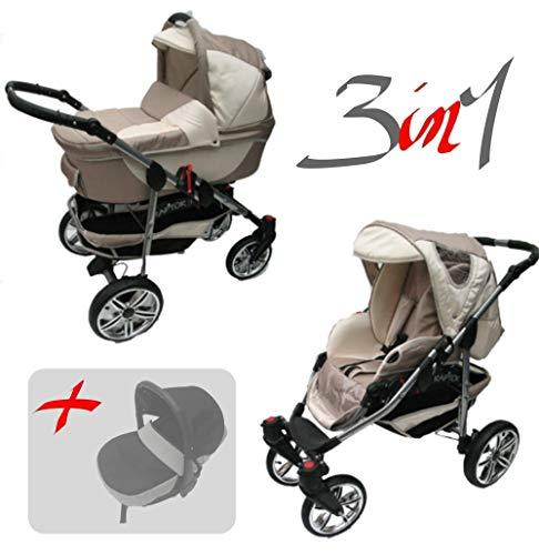 Jackmar | Gestell in Silber | Luftreifen in Weiß | 3 in 1 Kinderwagen Set | Farbe: Cappuccino & Beige