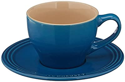 Le Creuset PG8000-05 Stoneware Cappuccino Cups and Saucers, Set of 2 ,