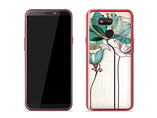 etuo Handyhülle für HTC Desire 12s - Hülle Fantastic Hülle - Aquarelle Blume - Hülle Schutzhülle Etui Hülle Cover Tasche für Handy